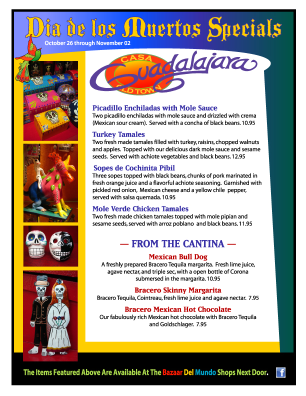 Casa Guadalajara Old Town San Diego Day of the Dead Menu