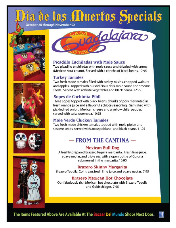 Casa Guadalajara Day of The Dead Menu