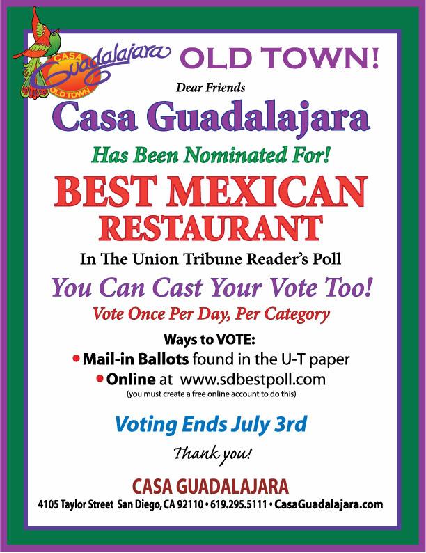 Casa Guadalajara Best San Diego Mexican Restaurant