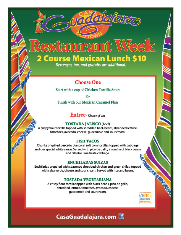 Casa Guadalajara San Diego Menu for Restaurant Week San Diego September 2012