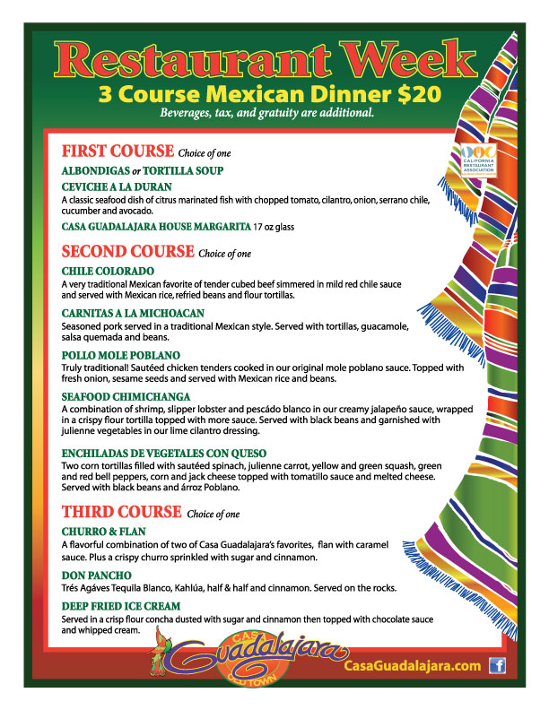 Casa Guadalajara Dinner Menu for San Diego Restaurant Week September 2012