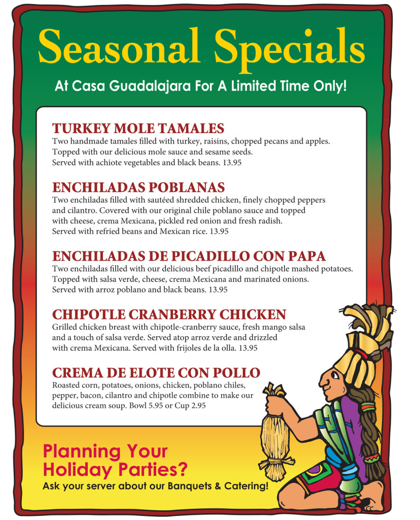 Casa Guadalajara Seasonal Specials